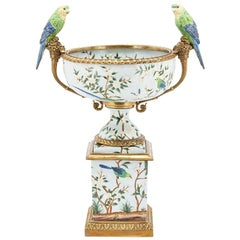 Parrots and Flowers Bowl or Cup in Porcelain and Bronze Finish