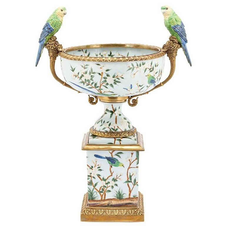 Parrots and Flowers Bowl or Cup in Porcelain and Bronze Finish For Sale