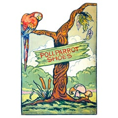 """""""Parrots and Trees,"""" Art Deco Painted Advertising Panel for Poll Parrot Shoes"""