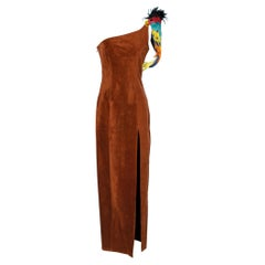 Parrots brown suede asymetrical dress S.S 1992 Chantal Thomass
