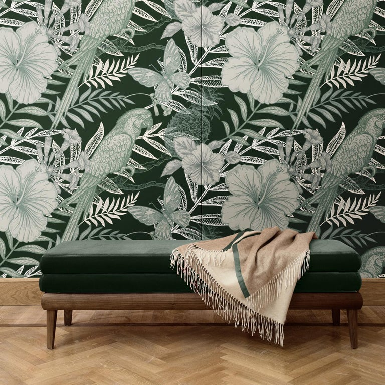 Dramatically rendering a negative photograph, this wall covering is a superb decoration for an eclectic bedroom, modern entryway, or classic study. In it, a green background is enlivened by an exotic scene in which parrots, flying butterflies, and