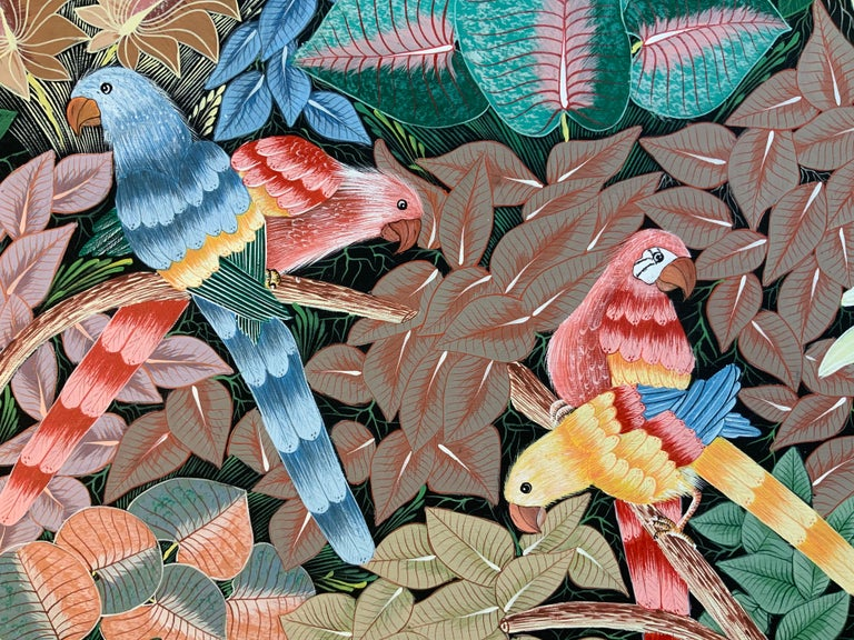 Parrots in the Jungle Haitian Acrylic on Canvas  Painting For Sale 7