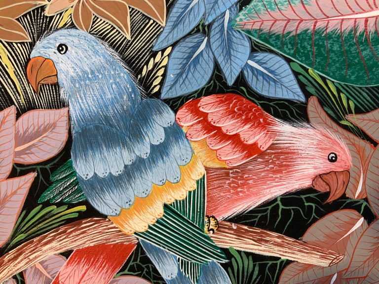 Parrots in the Jungle Haitian Acrylic on Canvas  Painting For Sale 8