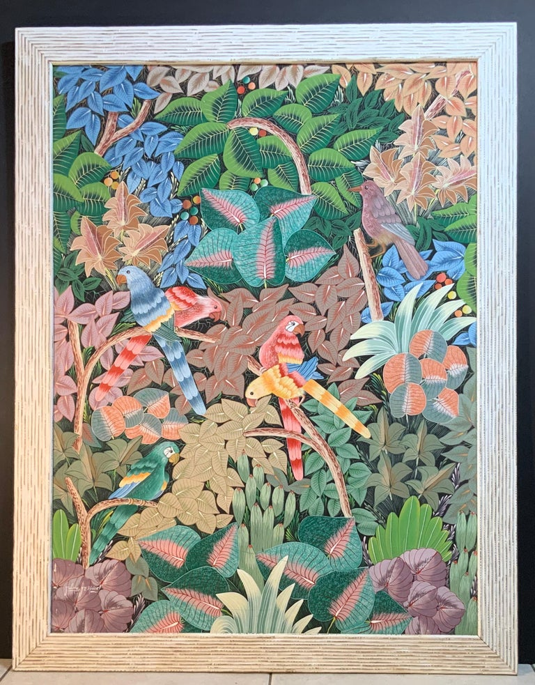 Parrots in the Jungle Haitian Acrylic on Canvas  Painting For Sale 12