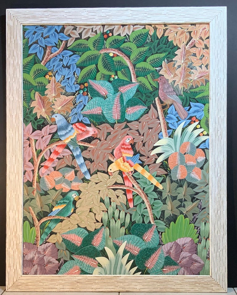 Parrots in the Jungle Haitian Acrylic on Canvas  Painting For Sale 13