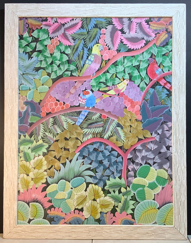 Parrots in the Jungle Haitian Acrylic on Canvas  Painting For Sale 16