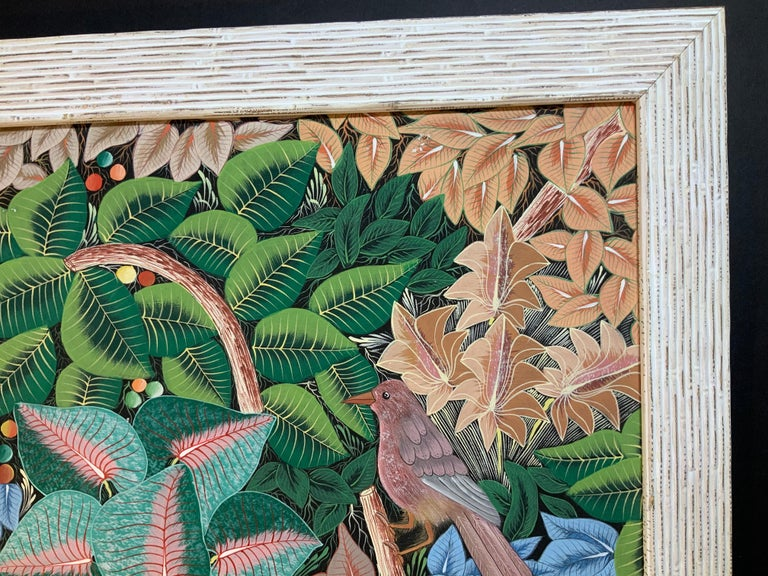 Parrots in the Jungle Haitian Acrylic on Canvas  Painting In Good Condition For Sale In Delray Beach, FL