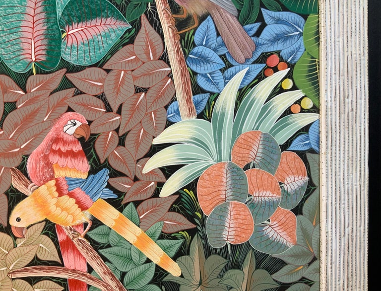 Late 20th Century Parrots in the Jungle Haitian Acrylic on Canvas  Painting For Sale