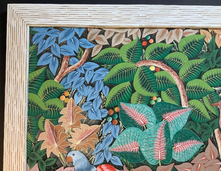 Parrots in the Jungle Haitian Acrylic on Canvas  Painting For Sale 1