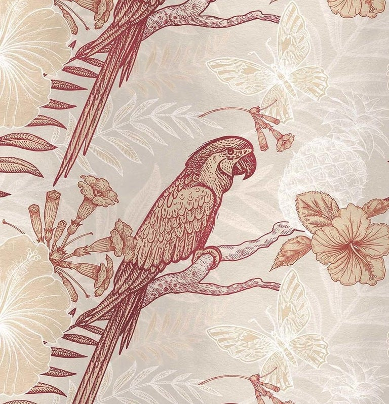 Modern Parrots Ivory Panel For Sale