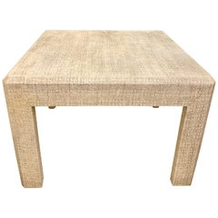 Parsons Low Game/Side Table Clad in Grasscloth