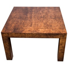 Parsons Style Burl Wood Coffee Table