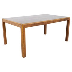 Parsons Style Mid Century Walnut and Oak Expanding 10 Person Dining Table