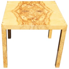 Parsons-Style Olive Burl Side Table by Edward Wormley for Dunbar