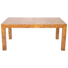 Parsons Style Olivewood Dining Table Design Attributed to Milo Baughman
