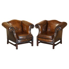 Part of Large Suite This Lovely Pair of Hand Dyed Brown Leather Club Armchairs