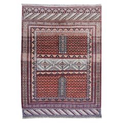 Part Silk Rug Hatchlou Engsi Tribal Vintage Carpet from Afghan Turkoman Tribe