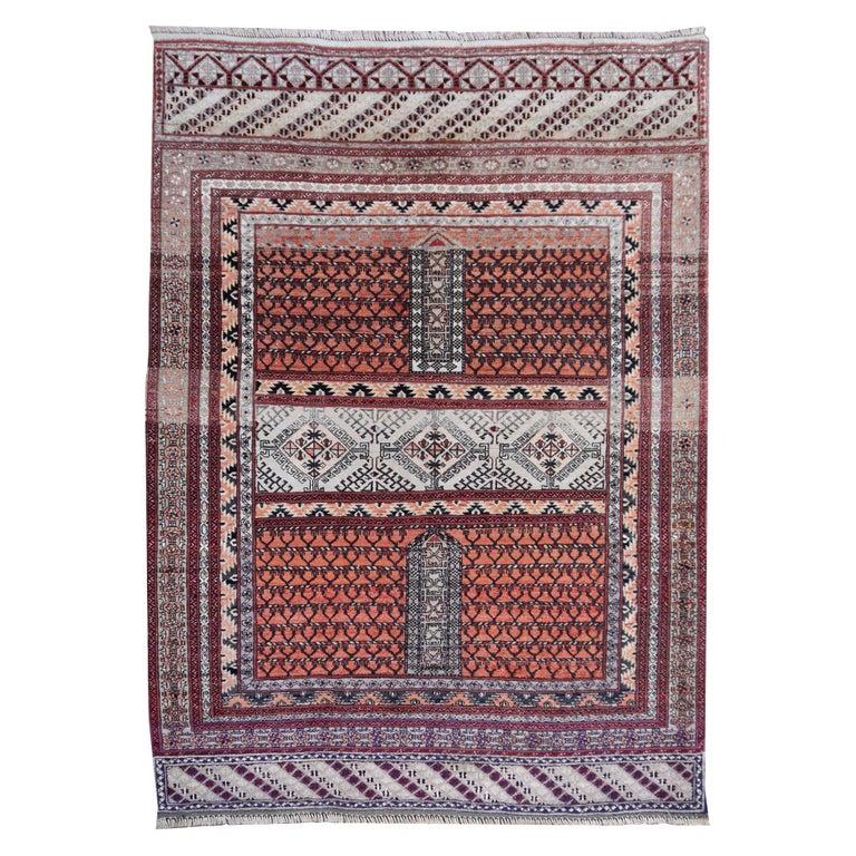 Part Silk Rug Hatchlou Engsi Tribal Vintage Carpet from Afghan Turkoman Tribe For Sale