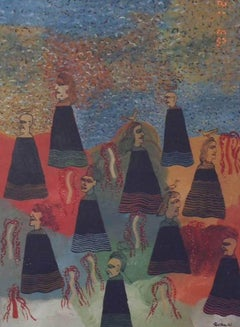 "Dolls, Acrylic on canvas, Black, Red, Brown, Green by Indian Artist ""In Stock"""