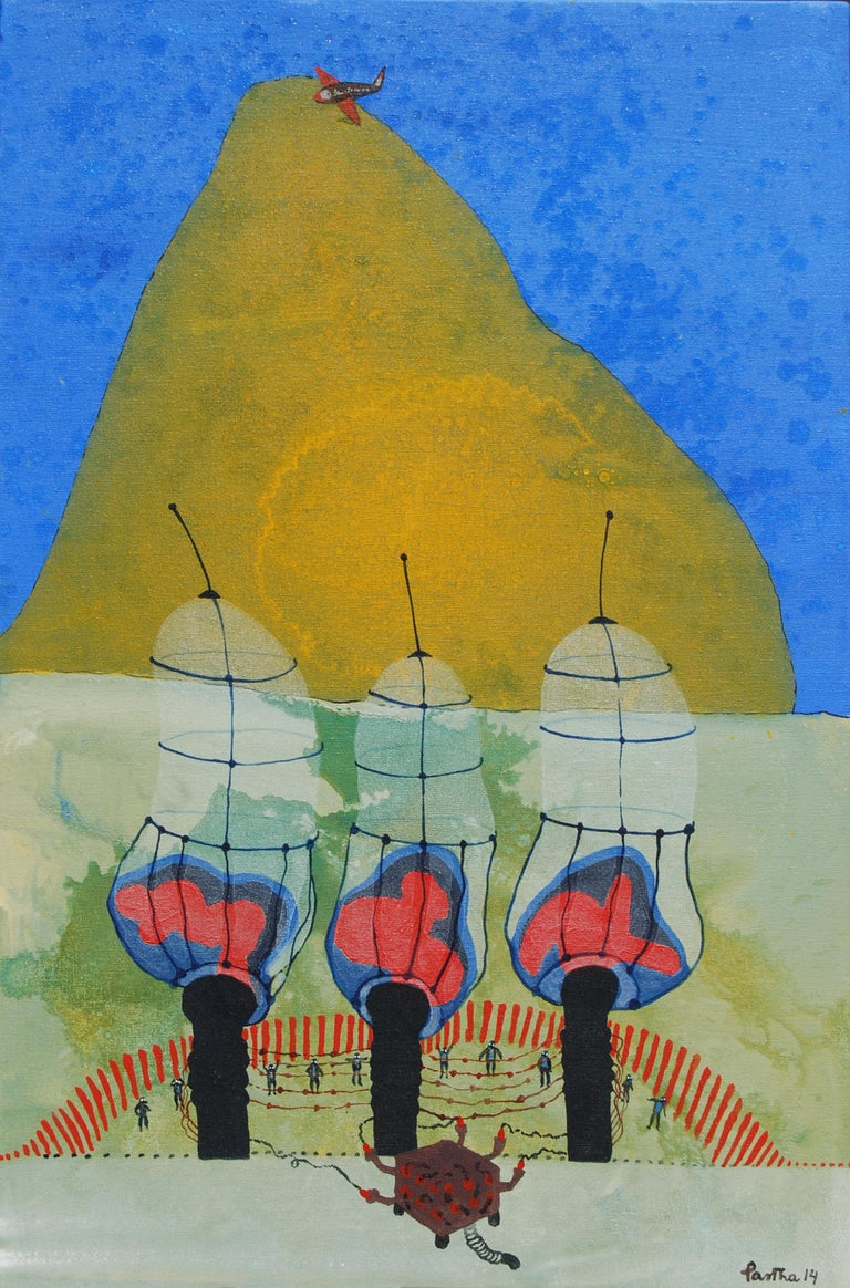 "Partha Prathim Deb Figurative Painting - War or Peace, Acrylic, Mixed Media on Canvas, Blue, Yellow, Red Colors""In Stock"""