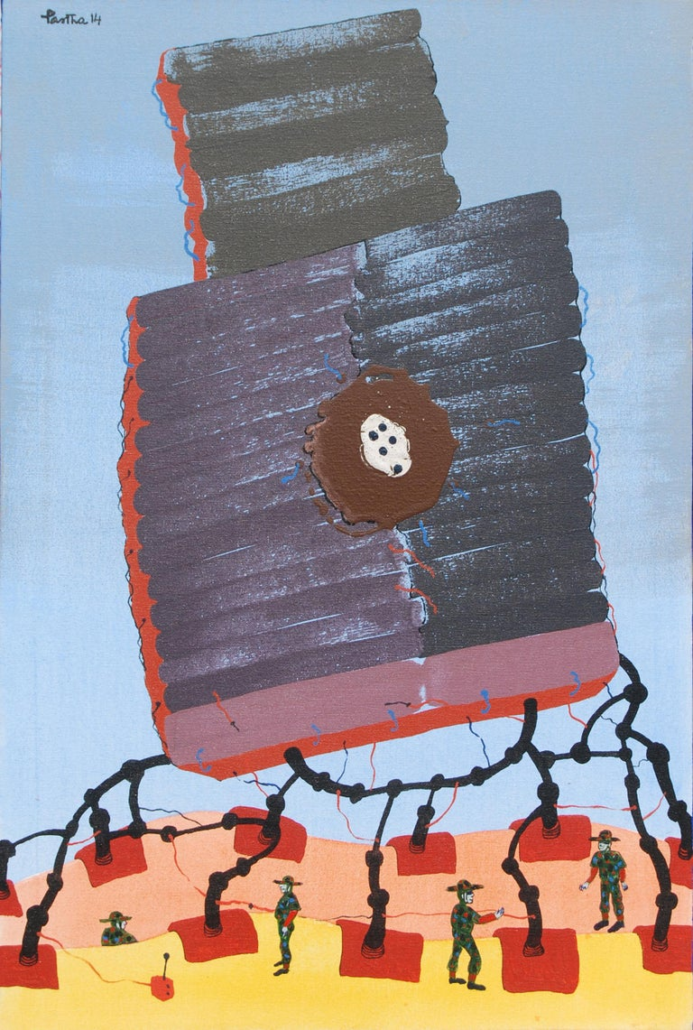 """Partha Prathim Deb Figurative Painting - War or Peace, Acrylic & Mixed Media on Canvas, Red,Yellow, Blue Colors""""In Stock"""""""