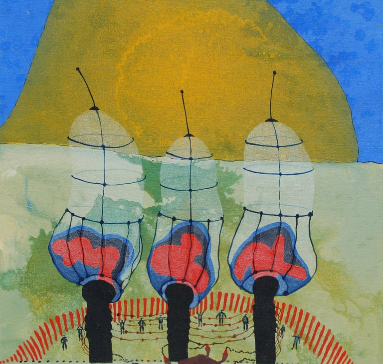 War or Peace, Pair of works, Acrylic, Mixed Media on Canvas, Blue, Red