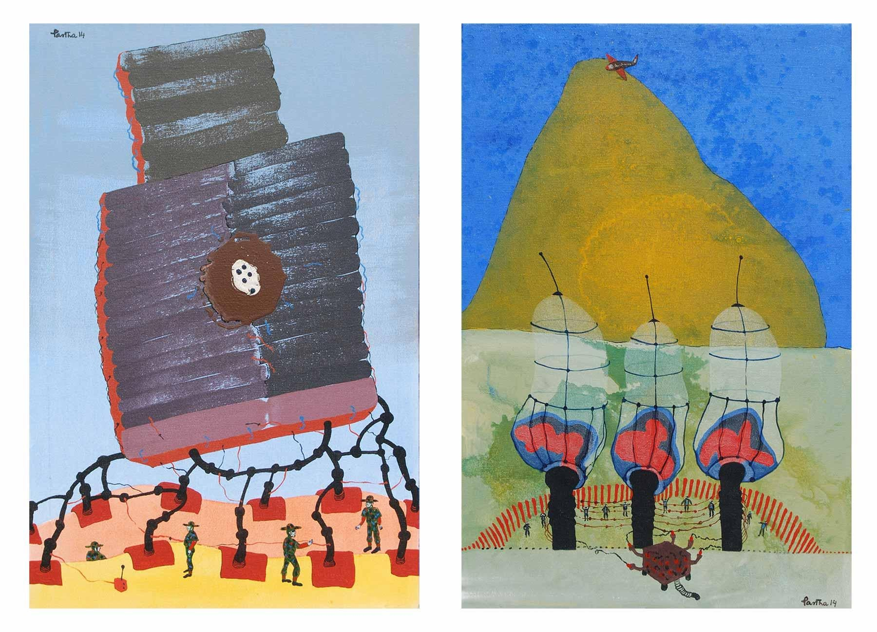 """War or Peace, Pair of works, Acrylic, Mixed Media on Canvas, Blue, Red""""In Stock"""""""