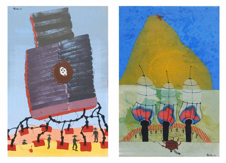 """War or Peace, Pair of works, Acrylic, Mixed Media on Canvas, Blue, Red""""In Stock"""" - Mixed Media Art by Partha Prathim Deb"""