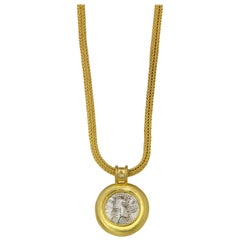 Parthian Coin Pendant with Canary Diamond