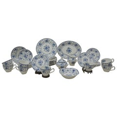 "Partial Set of Johnson & Brothers ""Indies"" Floral Pattern Blue and White China"