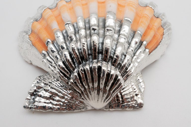 Italian Partially Silvered Pecten Shell- Made in Rome, Italy  For Sale
