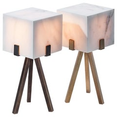 Particle Table Lamp by on.entropy, in Seamless White Marble and Bronze