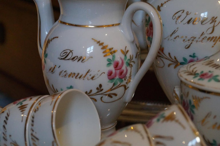 French Particular and Rare Old Paris Hand-Painted Porcelain Coffee Tea Service, France For Sale