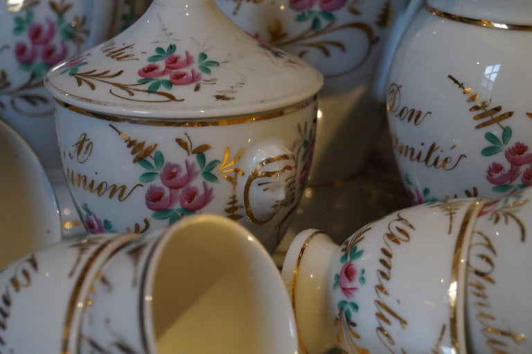 19th Century Particular and Rare Old Paris Hand-Painted Porcelain Coffee Tea Service, France For Sale