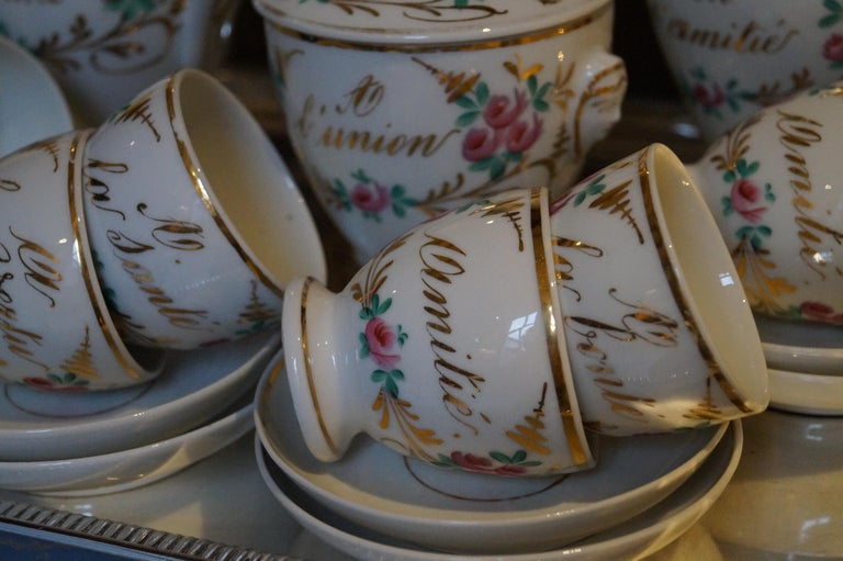 Particular and Rare Old Paris Hand-Painted Porcelain Coffee Tea Service, France For Sale 1