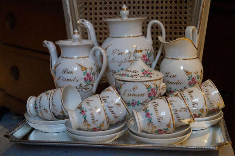 Particular and Rare Old Paris Hand-Painted Porcelain Coffee Tea Service, France For Sale 2
