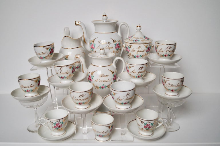 Particular and Rare Old Paris Hand-Painted Porcelain Coffee Tea Service, France For Sale 3