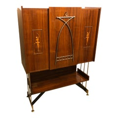 Particular Mid-Century Modern Rosewood Rio Italian Bar Furniture, circa 1950