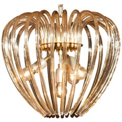 Partly Gilded and Brass and Crystal Venini Murano Pendant Chandelier, Italy