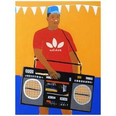 'Party Piece' Portrait Painting by Alan Fears Pop Art Boombox