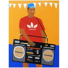 'Party Piece' Portrait Painting by Alan Fears Pop Art Boombox