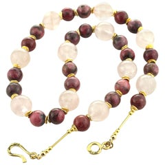 Party Ready Necklace of Highly Polished Rhodonite and Rose Quartz