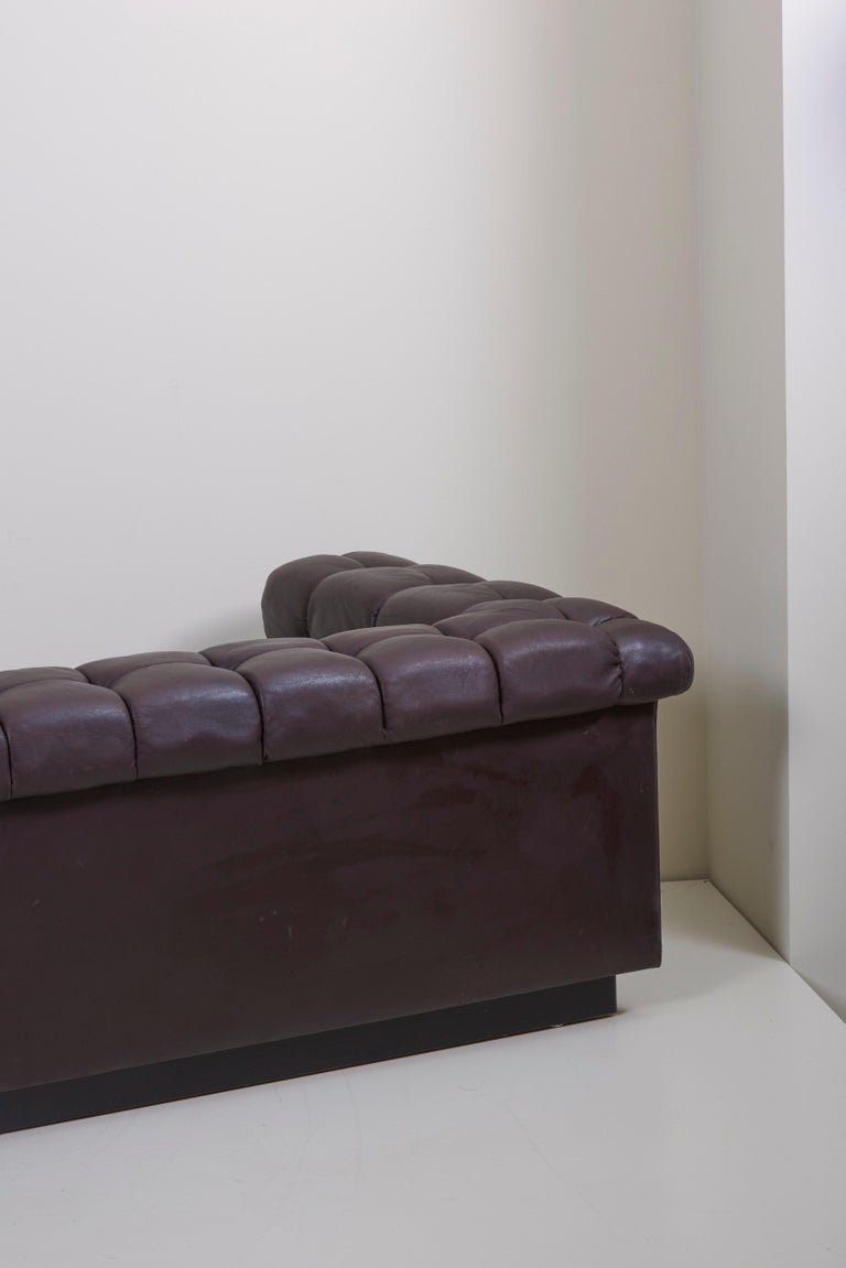 Party Sofa Model 5407 in Dark Brown Leather by Edward Wormley for Dunbar For Sale 5