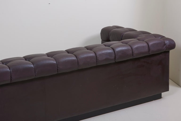 Party Sofa Model 5407 in Dark Brown Leather by Edward Wormley for Dunbar For Sale 6