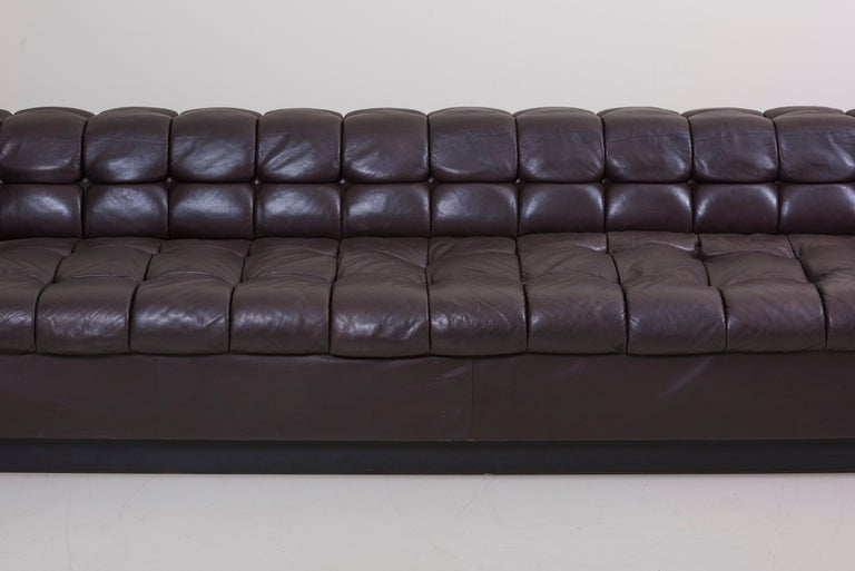 American Party Sofa Model 5407 in Dark Brown Leather by Edward Wormley for Dunbar For Sale