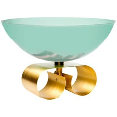 Parure II Large Glass Bowl with Brass Base by Cristina Celstino