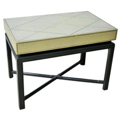 Parzinger Green with Gold Tooled Leather Top & Lacquered Green Frame Side Table