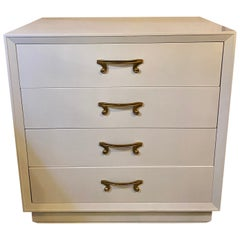 Parzinger Hollywood Regency Four-Drawer Chest Dresser Commode Dove Grey Lacquer