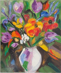 Bouquet of Tulips and Wildflowers - Original oil on canvas, Signed