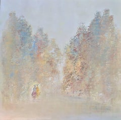 Un Jour Avec Toi, Square Abstract Impressionist Oil on Canvas Painting
